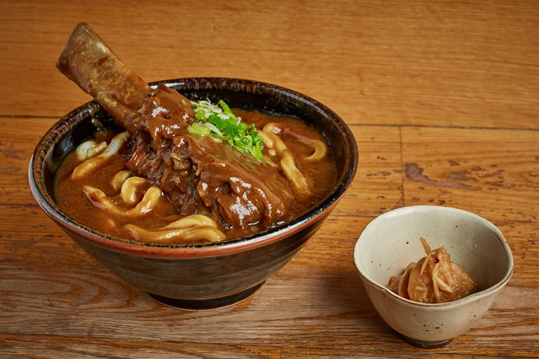 Braised beef short rib curry udon with fukujinzuke pickle