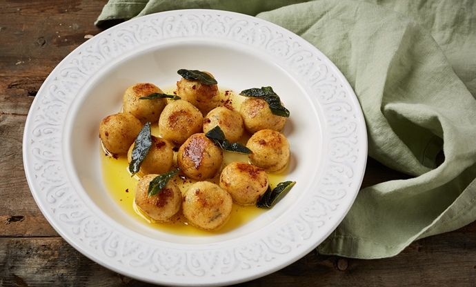 Saint Agur blue cheese gnudi with sage butter sauce