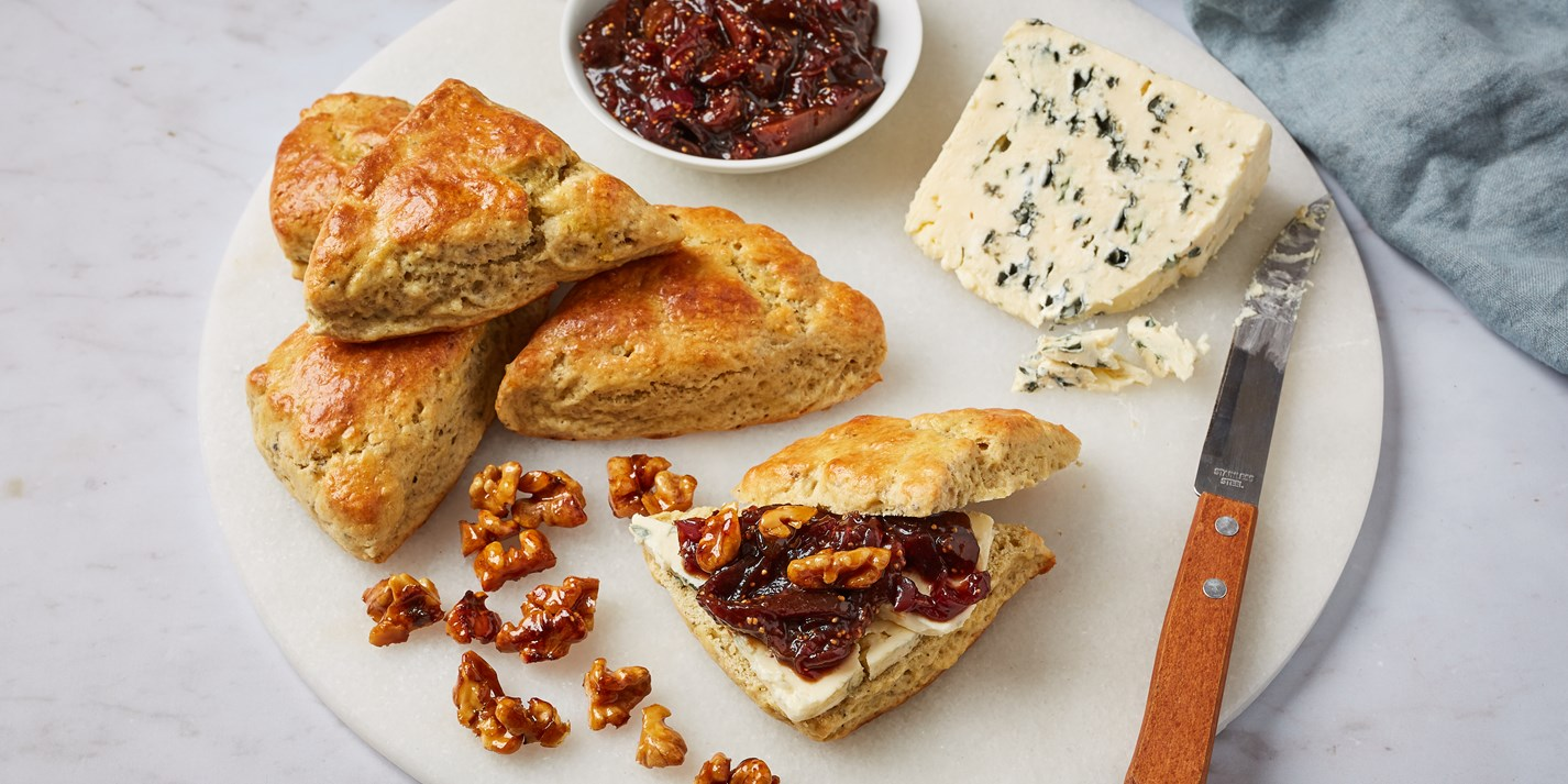 Saint Agur Scones with Fig Relish Recipe - Great British Chefs