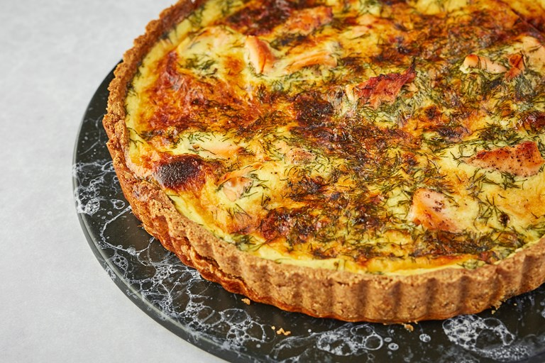Salmon, dill and sour cream quiche with a rye crust