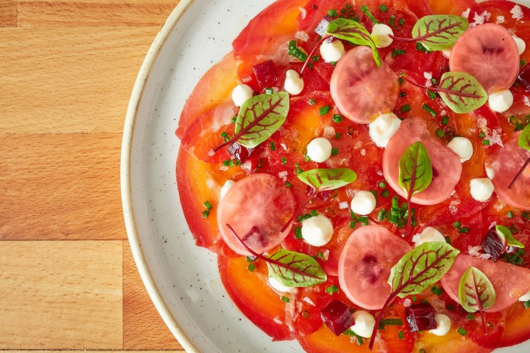 Beetroot-cured Cotswold trout carpaccio
