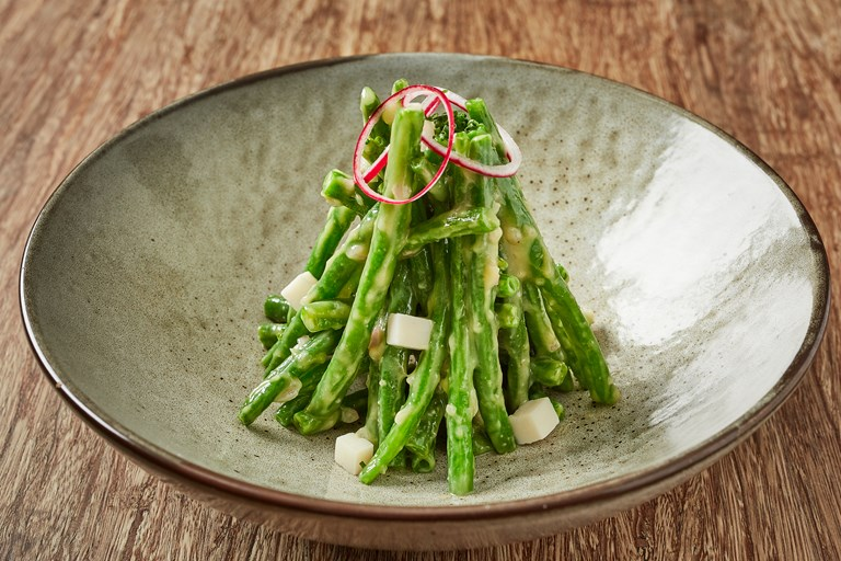 Green bean salad with white balsamic miso