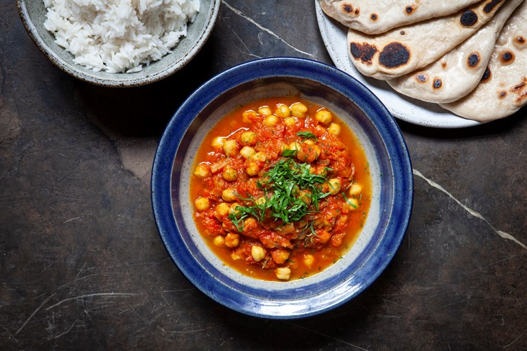 Vegan chickpea and tomato bhuna