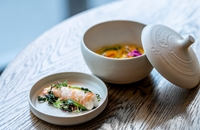 Steamed langoustine with seaweed salad and custard of the shell
