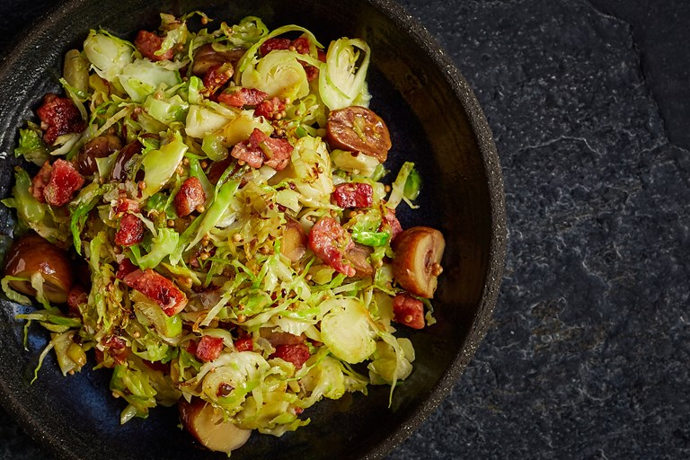 Brussels sprouts with chestnuts, pancetta, mustard seeds and olive oil