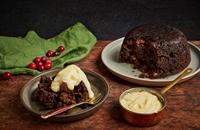 Christmas black pudding with sherry custard