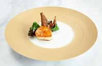 Scallop with Jerusalem artichoke, apple and miso-glazed eel
