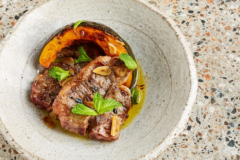 Barbecued lamb chops with Delica pumpkin and a cumin and mint vinaigrette