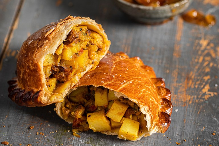 Curried cauliflower and potato pasties