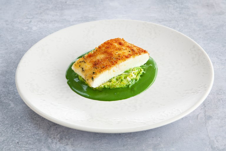 Gruyère crusted halibut with leek fondue and parsley sauce