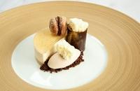 Hazelnut bavarois with banana and yoghurt sorbet