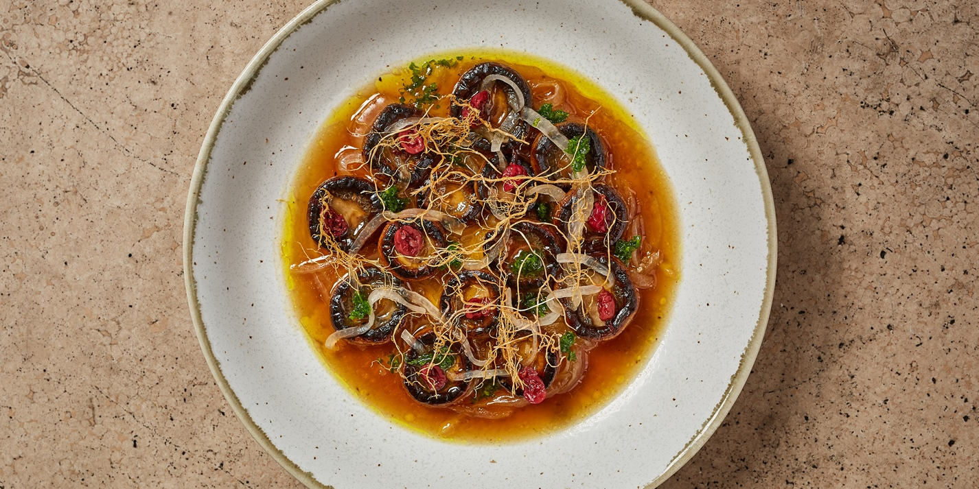 Mushrooms in Dashi with Sour Onions and Gooseberry 'Boshi' Recipe - Great British Chefs