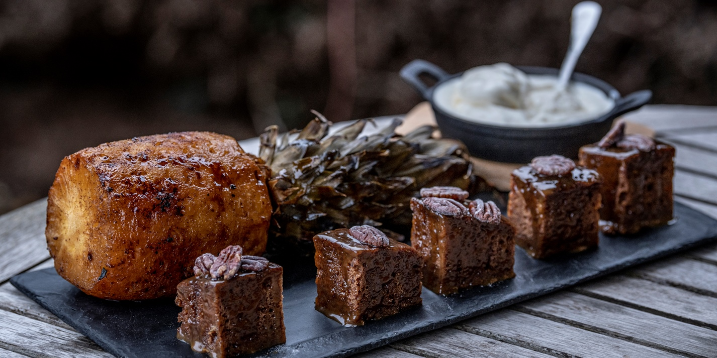 Roasted Pineapple with Sticky Toffee Pudding Recipe - Great British Chefs