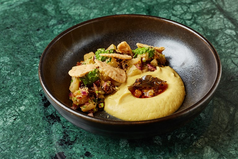 Celeriac chaat with celeriac purée and papdi