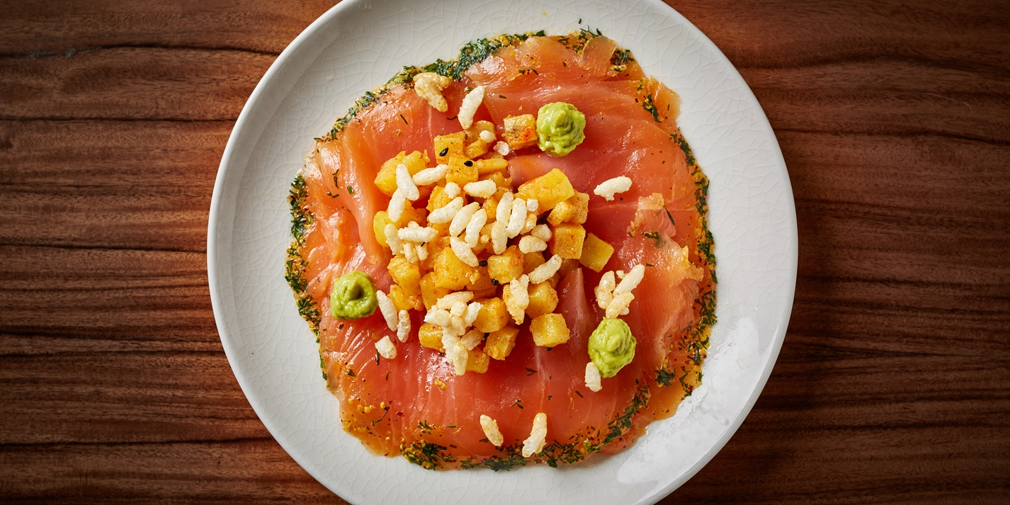 Salmon Carpaccio with Caramel Jhal Muri Recipe - Great British Chefs