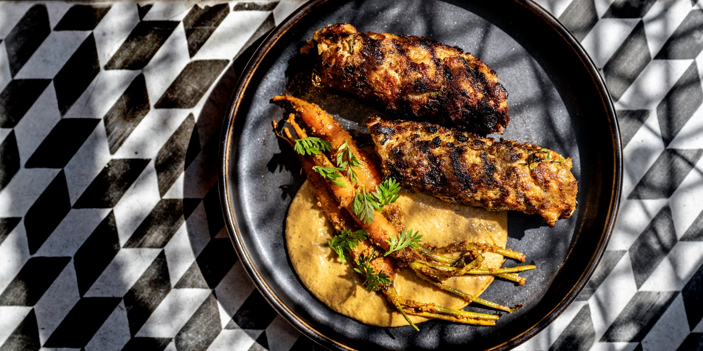 Rabbit and Pork Fat Kebab Recipe - Great British Chefs