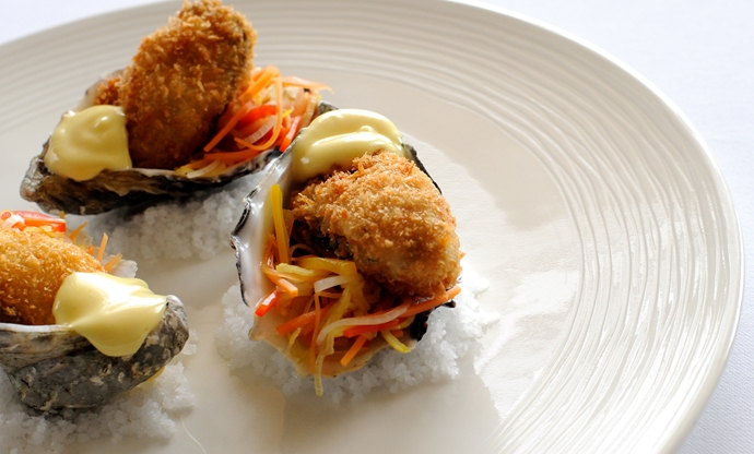 Crispy oysters with pickled vegetable salad and citrus mayonnaise