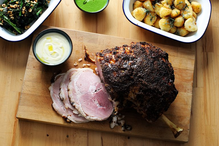 Honey mustard glazed roast ham recipe with all the trimmings