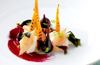 Carrots with smoked trout, mozzarella, wakame seaweed and beetroot emulsion