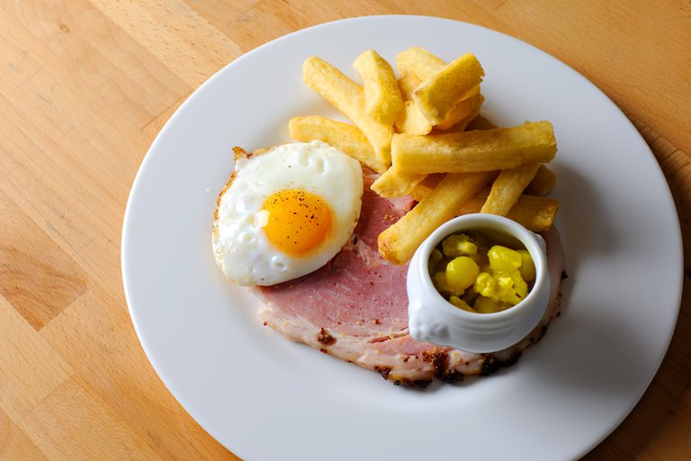 Ham, egg and chips with piccalilli