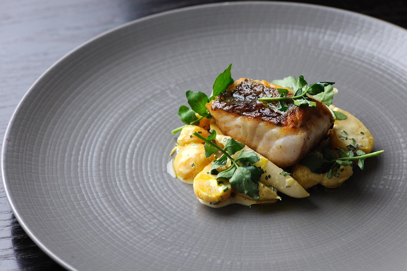 Hake fillet with golden beet and radish salad