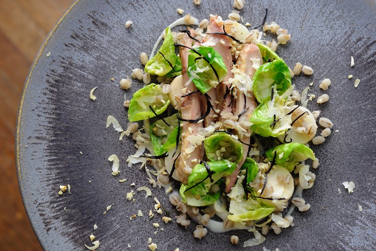 Roasted partridge, hay-baked celeriac, pearl barley and sprout leaves